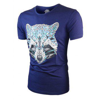 Short Sleeve Geometric Wolf Printed Tee