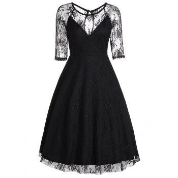 Mesh Trim A Line Party Dress