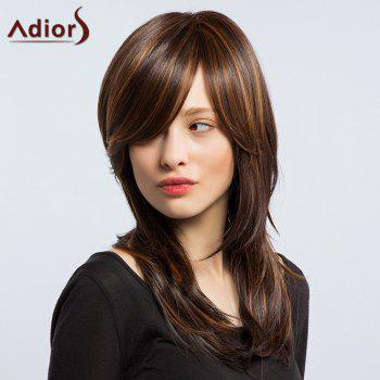Adiors Long Hightlight Silky Layered Slightly Curled Inclined Bang Synthetic Wig