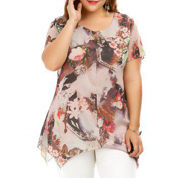 Plus Size Asymmetrical Chiffon Flower Tunic Top