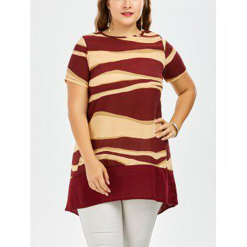 Plus Size Two Tone Chiffon Tunic Top