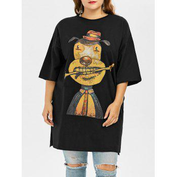 Cartoon Print Drop Shoulder Plus Size Tee