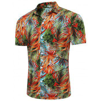 3D Florals and Leaves Print Breathable Shirt