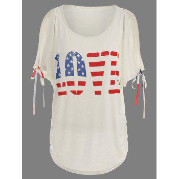 Patriotic American Flag Print Love Graphic Tee