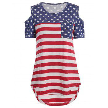 Cold Shoulder American Flag Print Pocket Tee