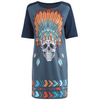 Casual Tribal Skull Print Straight T-Shirt Dress