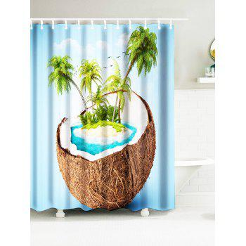 Tropical Coconut Tree Island Water Resistant Fabric Bath Curtains