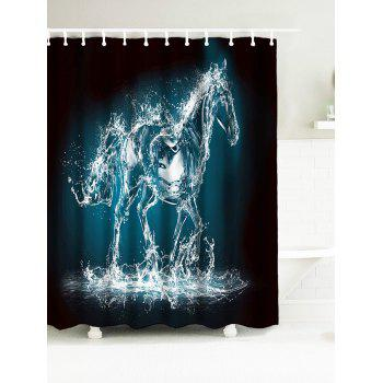Abstract Horse Waterproof Fabric Bath Curtain