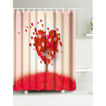 Heart Tree Grass Water Resistant Fabric Bathroom Shower Curtain