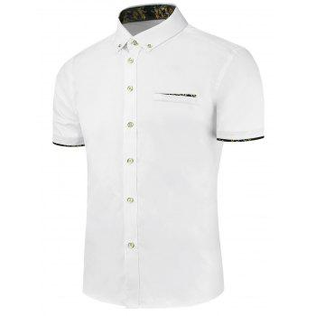 Paisley Trim Button Down Short Sleeve Shirt
