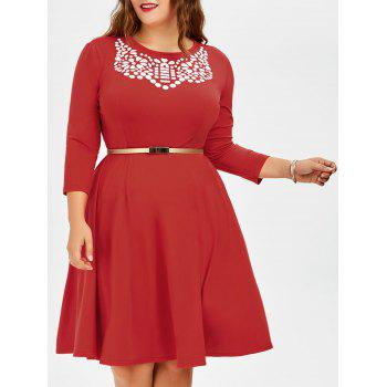 Plus Size Fit and Flare Dress With Belt