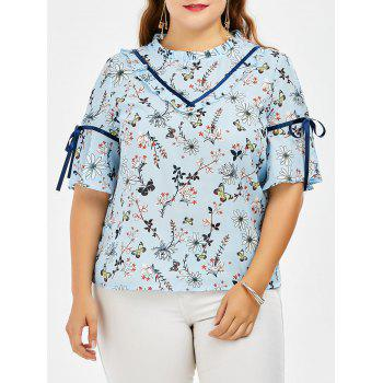 Butterfly Floral Print Chiffon Plus Size Top