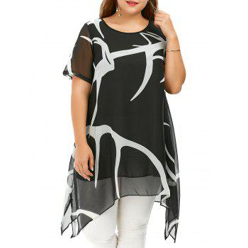 Plus Size Chiffon Handkerchief Tunic Top
