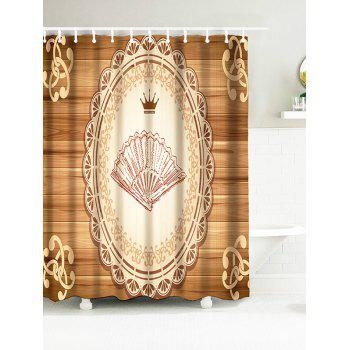 Hand Fan Dish Crown Water Resistant Wood Grain Shower Curtain