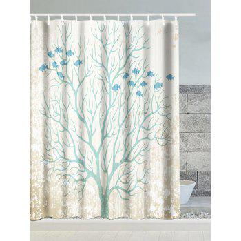 Fish Tree Snow Polyester Waterproof Shower Curtain