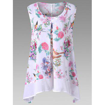 Birds Floral Chiffon Plus Size Asymmetric Top