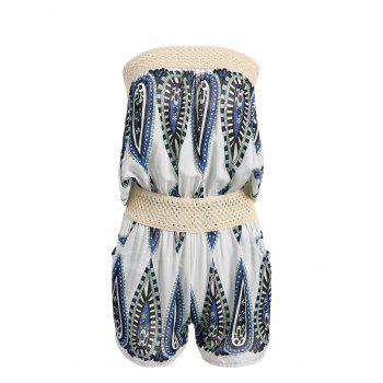 Printed Open Knit Panel Strapless Romper