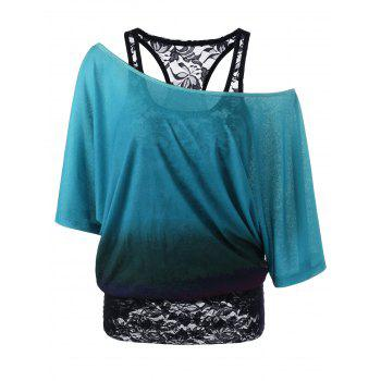 Cold Shoulder Lace Ombre Top