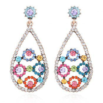 Rhinestone Teardrop Floral Earrings