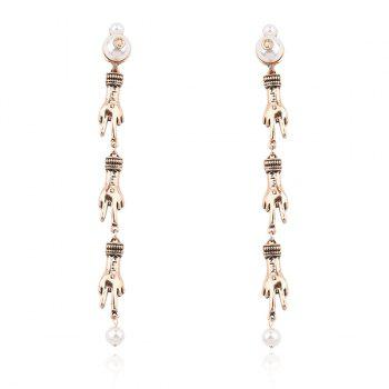 Faux Pearl Victory Sign Earrings