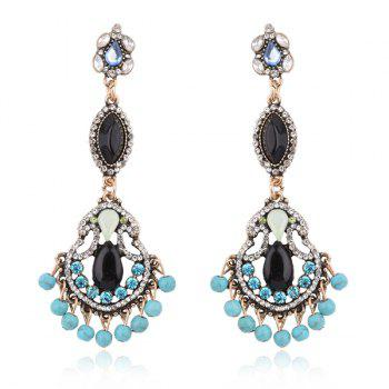 Rhinestone Artificial Turquoise Beads Teardrop Earrings