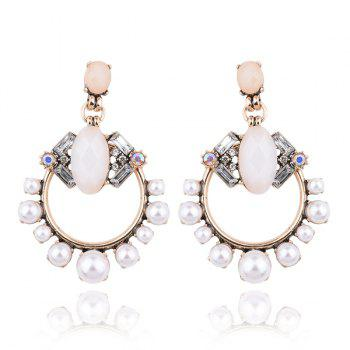 Artificial Pearl Opal Circle Earrings