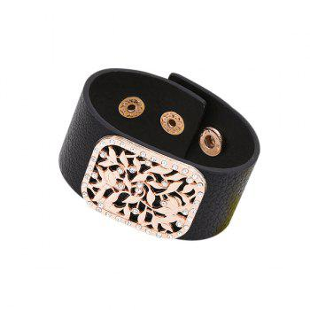 Artificial Leather Rhinestone Alloy Flower Bracelet