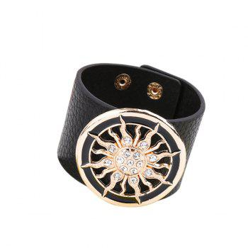 Artificial Leather Rhinestone Circle Sun Bracelet