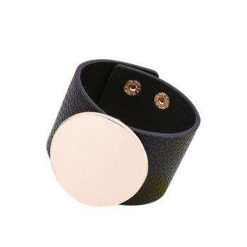 PU Leather Alloy Circle Bracelet
