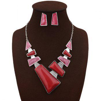 Faux Gemstone Geometric Necklace with Earrings