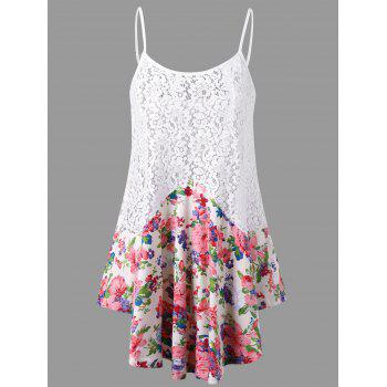 Floral Lace Trim Tank Top