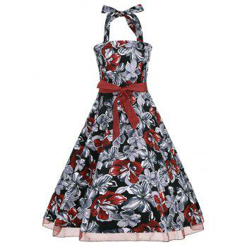 Retro Style Halter Floral Print Belted Dress