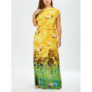 Plus Size Sunflower Hawaiian Long Dress