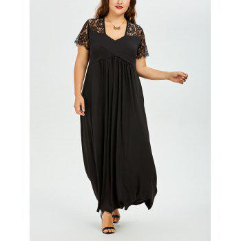 Lace Panel Plus Size Empire Waist Maxi Evening Dress