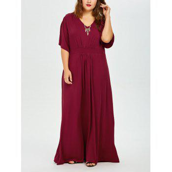 Plus Size Dolman Sleeve Maxi Evening Dress