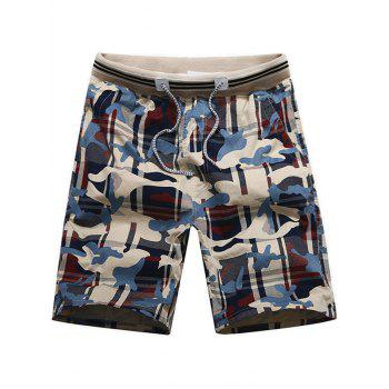 Drawstring Camo Print Board Shorts