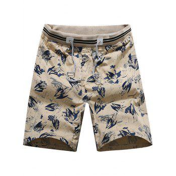 Drawstring Shark Print Beach Shorts