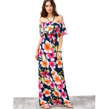 Off The Shoulder Floral Print Long Dress - ORANGE L