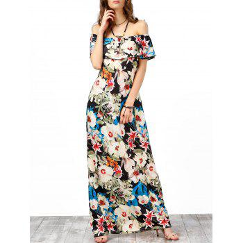 Off The Shoulder Floral Print Long Dress