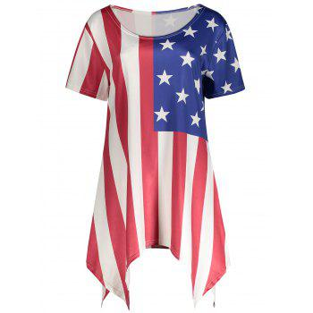Asymmetric American Flag Print Plus Size Top