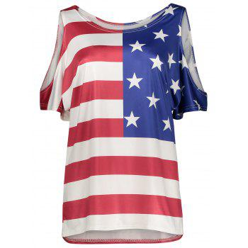 Cold Shoulder Patriotic American Flag Print Plus Size Top