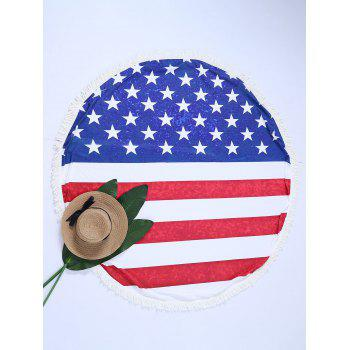 Round American Flag Print Fringe Beach Throw