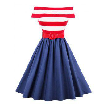 Off The Shoulder Striped Vintage Dress