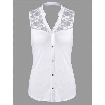 Lace Trim Open Back Button Up Blouse