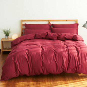 4Pcs Suit Polyester Fiber Bedding Sets - WINE RED FULL