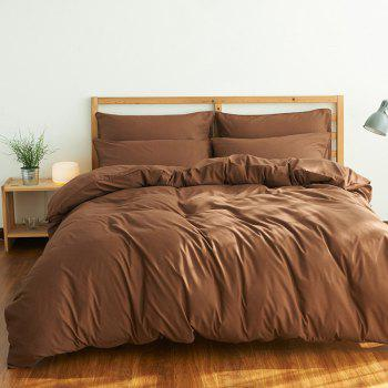 4Pcs Suit Polyester Fiber Bedding Sets - COFFEE FULL