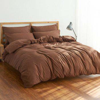4Pcs Suit Polyester Fiber Bedding Sets - COFFEE COFFEE