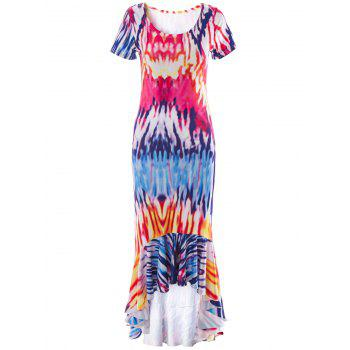 Tie Dye Asymmetrical Mermaid Dress