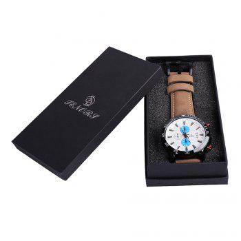 Faux Leather Strap Number Date Quartz Watch