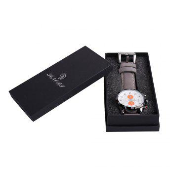 Number Date Faux Leather Strap Watch